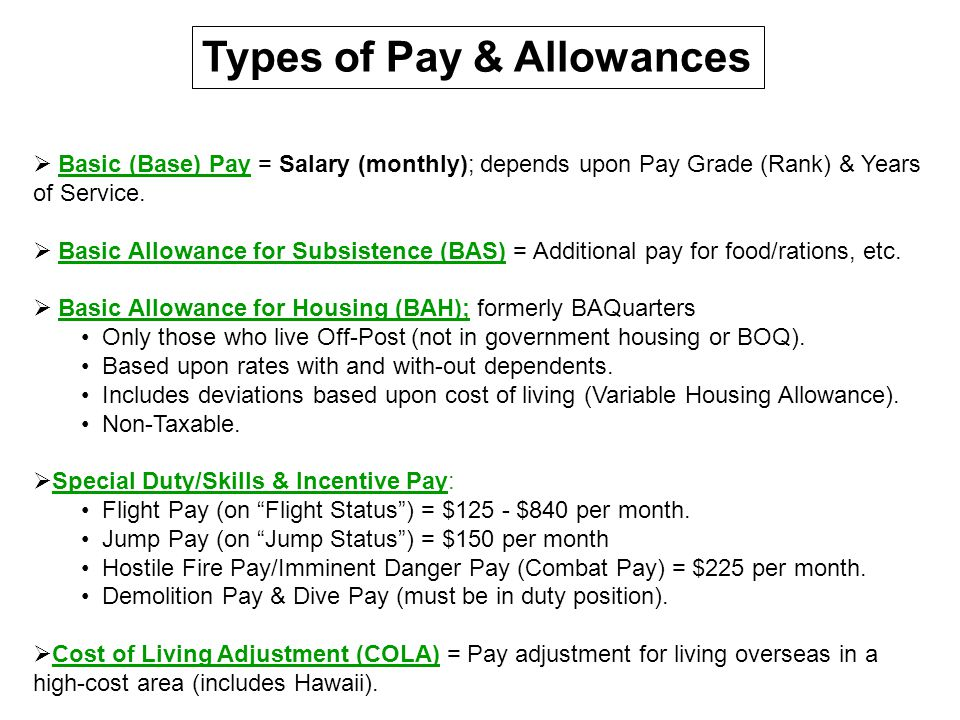 Types of Pay & Allowances