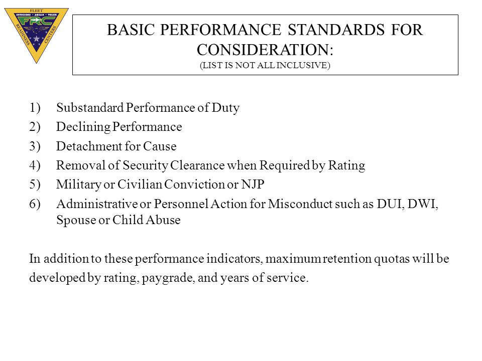 BASIC PERFORMANCE STANDARDS FOR CONSIDERATION: (LIST IS NOT ALL INCLUSIVE)