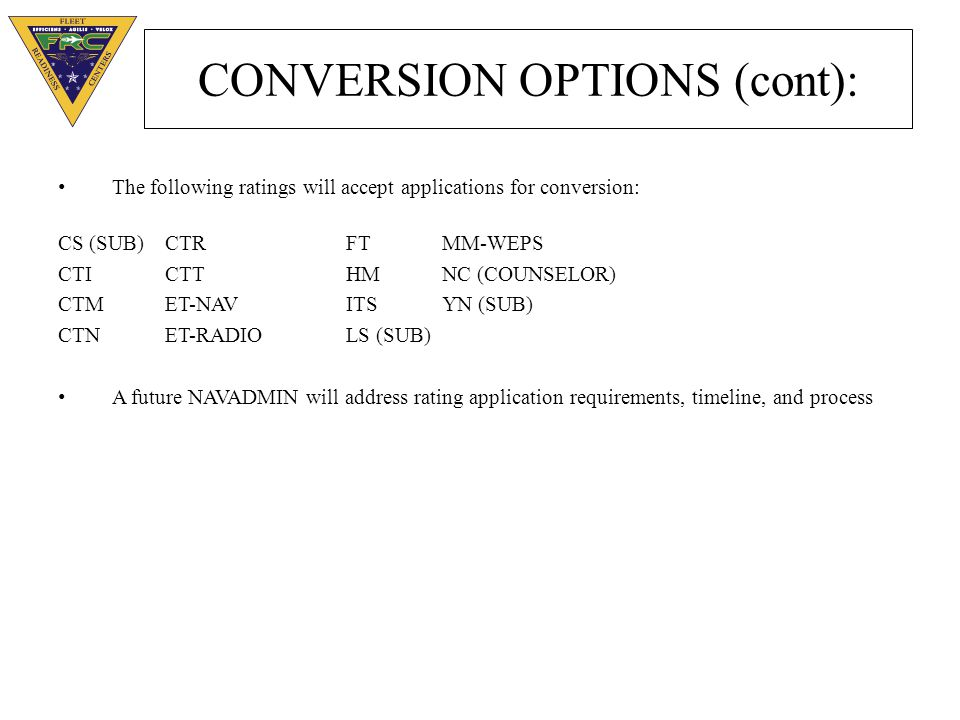 CONVERSION OPTIONS (cont):