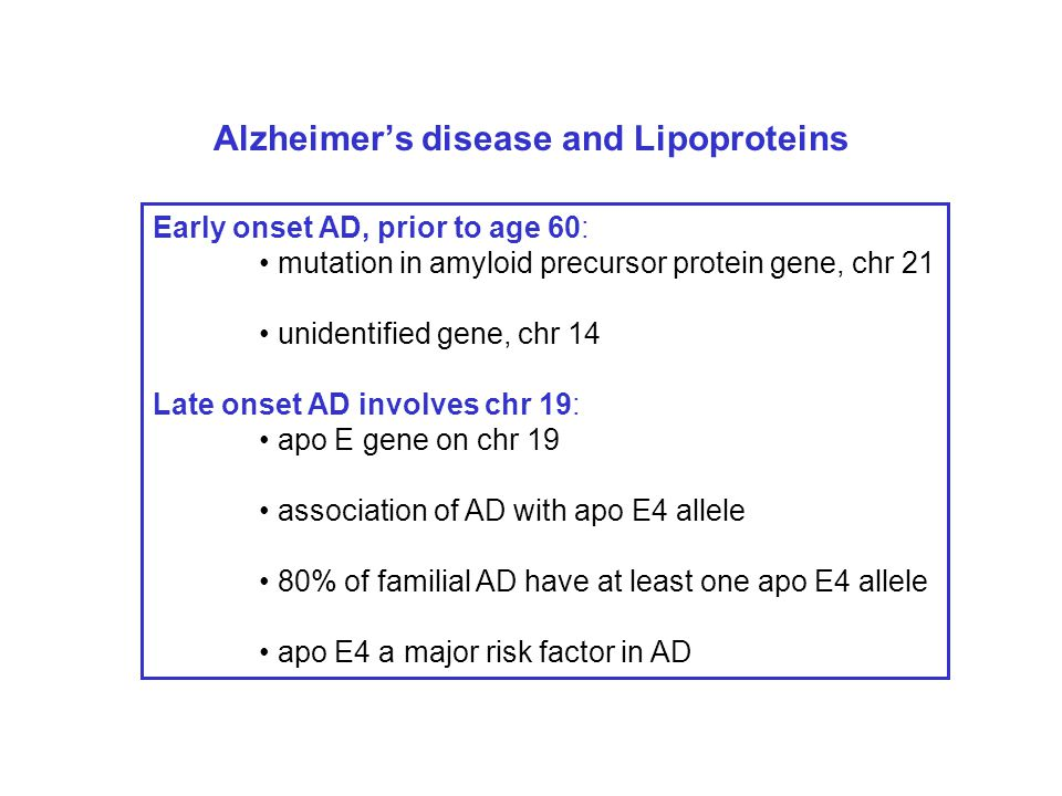 Alzheimer's disease and Lipoproteins