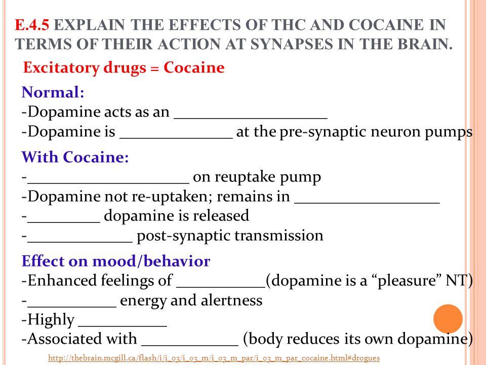 Excitatory drugs = Cocaine
