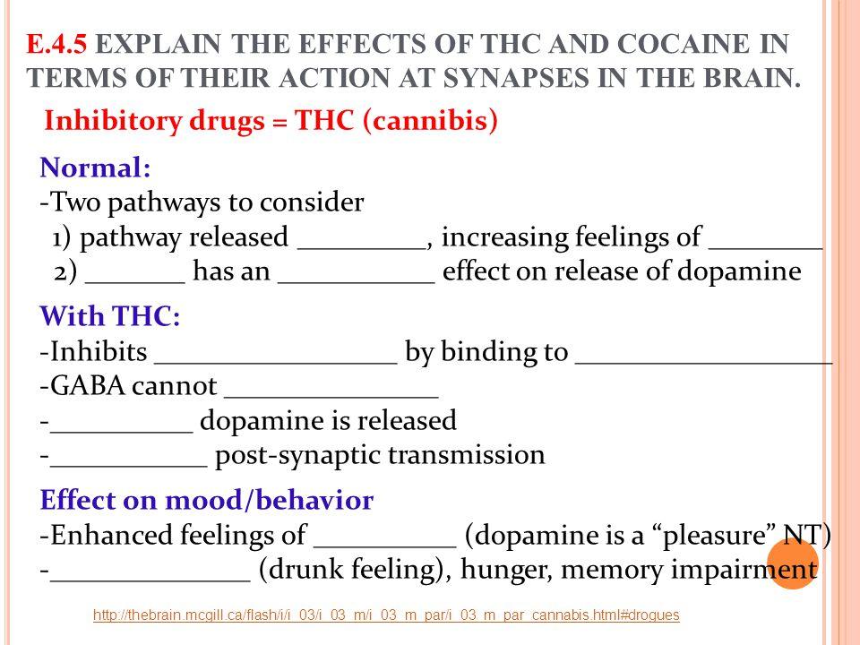 Inhibitory drugs = THC (cannibis)