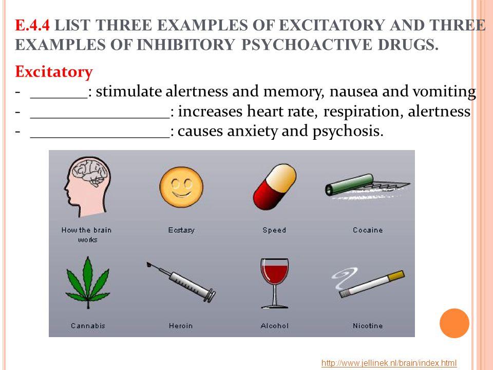 _______: stimulate alertness and memory, nausea and vomiting