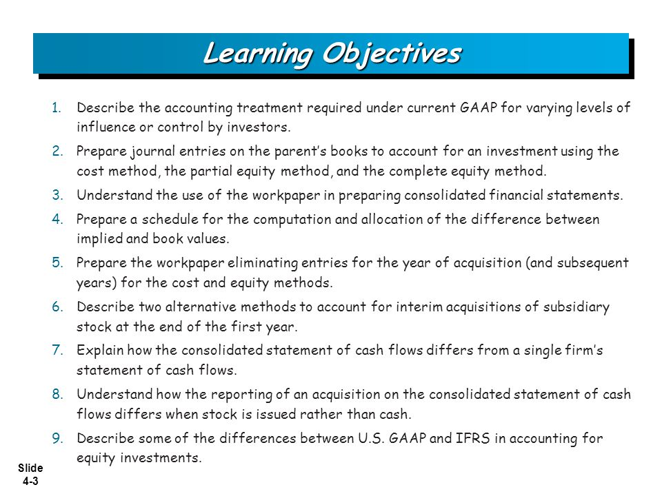 Learning Objectives Describe the accounting treatment required under current GAAP for varying levels of influence or control by investors.