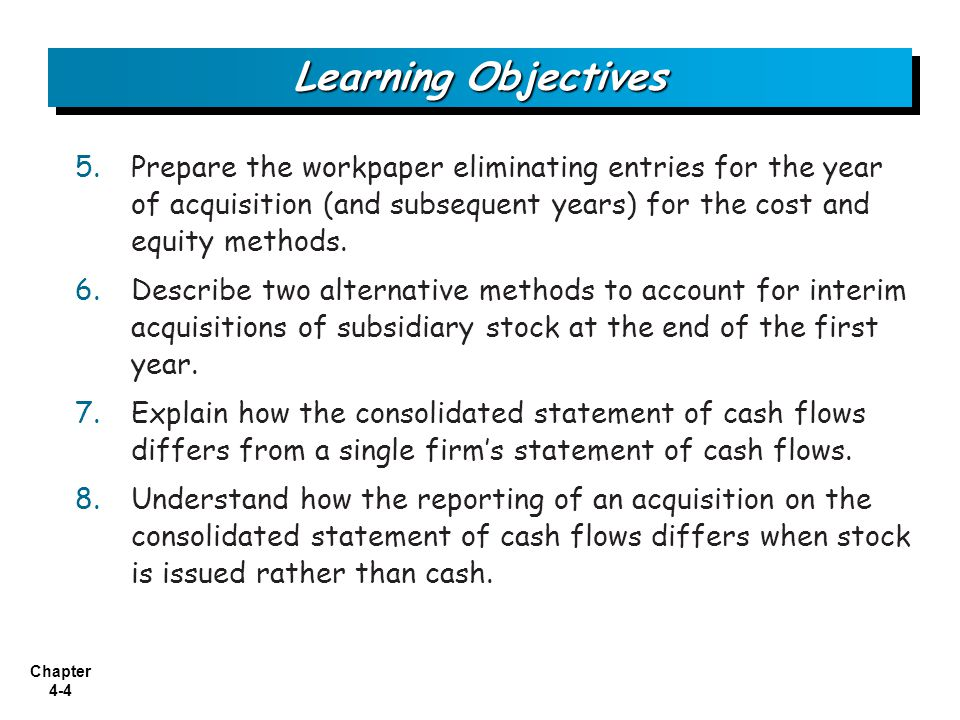 Learning Objectives Prepare the workpaper eliminating entries for the year of acquisition (and subsequent years) for the cost and equity methods.
