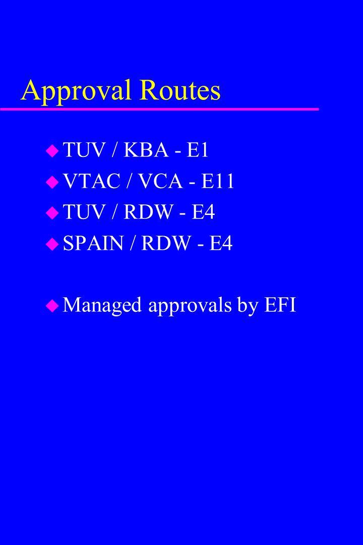 Approval Routes TUV / KBA - E1 VTAC / VCA - E11 TUV / RDW - E4