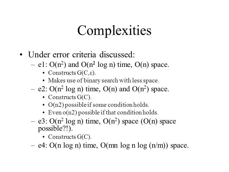 Complexities Under error criteria discussed:
