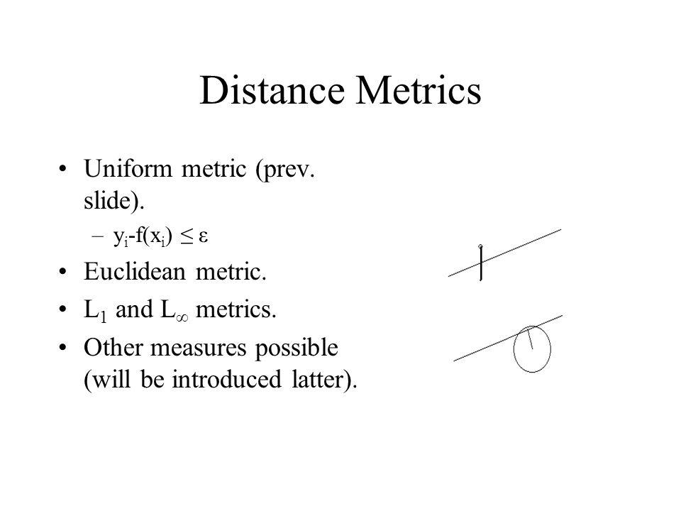 Distance Metrics Uniform metric (prev. slide). Euclidean metric.