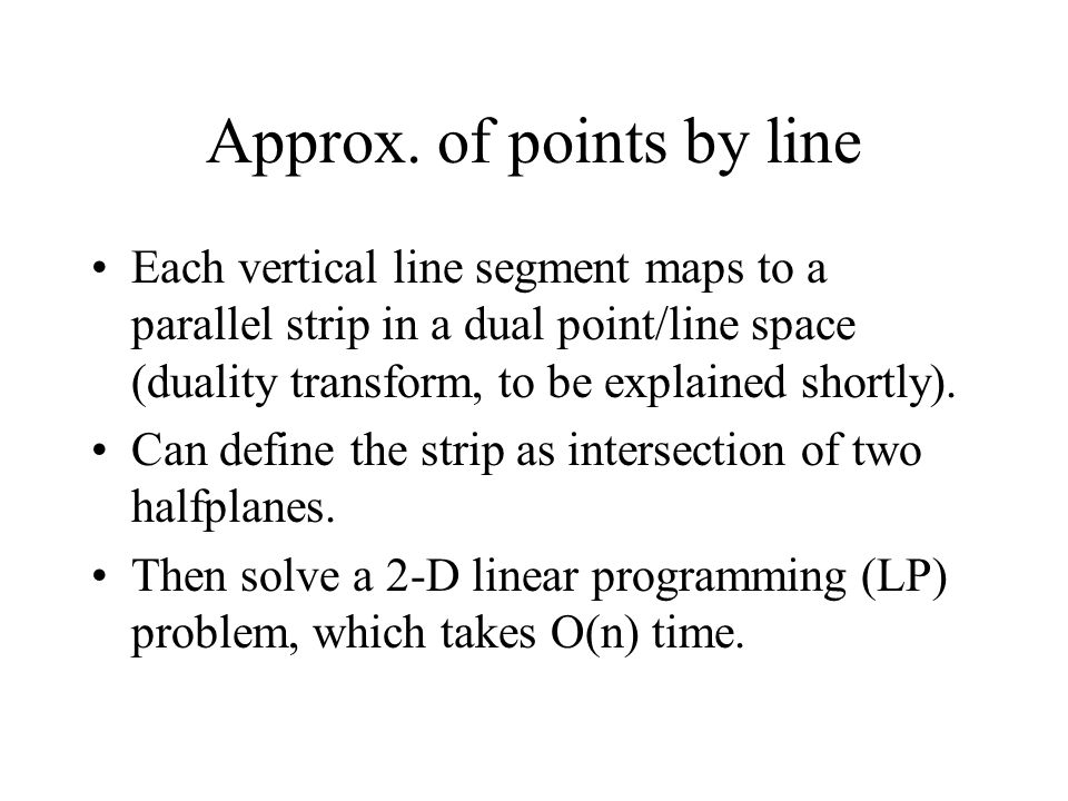 Approx. of points by line