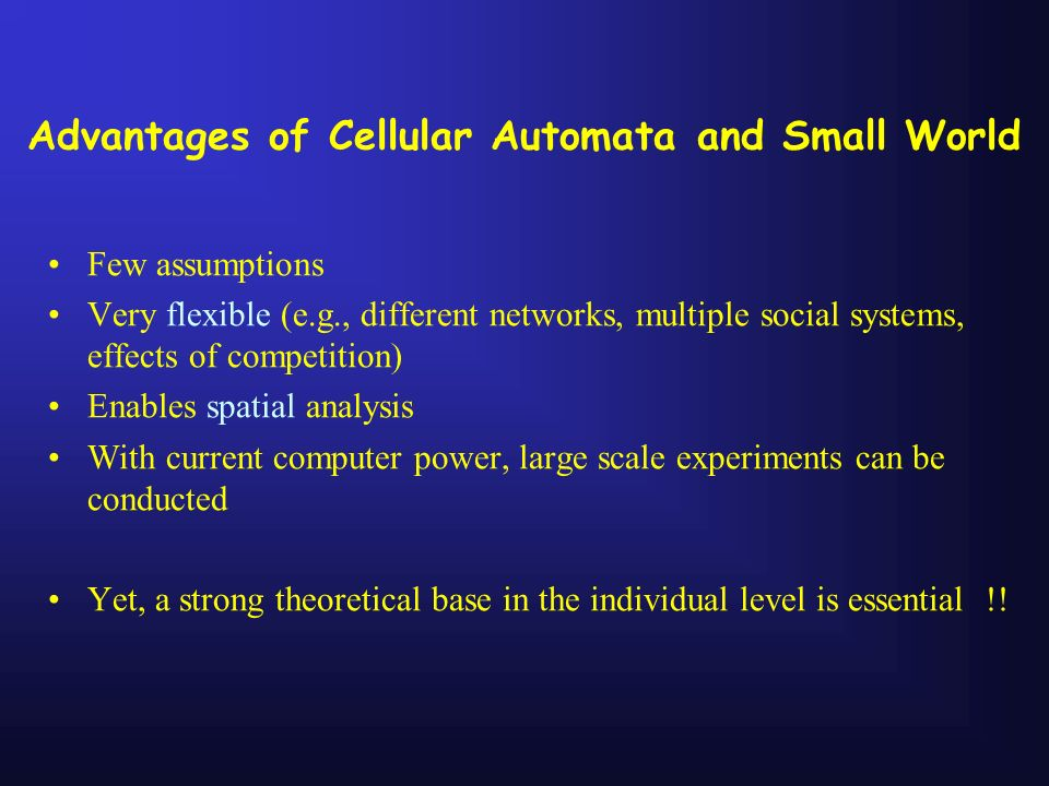 Advantages of Cellular Automata and Small World