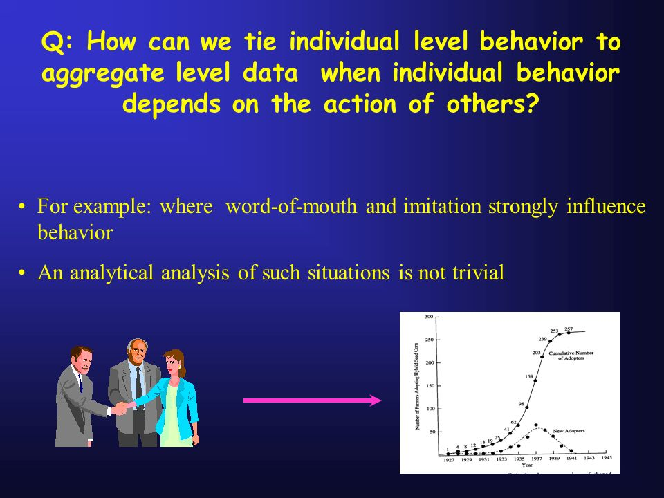 Q: How can we tie individual level behavior to aggregate level data when individual behavior depends on the action of others