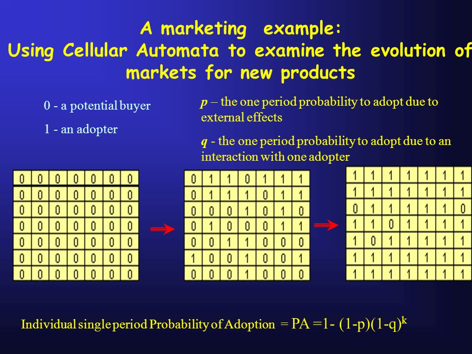 A marketing example: Using Cellular Automata to examine the evolution of markets for new products