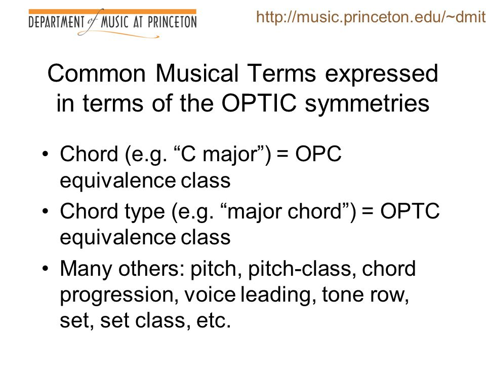 Common Musical Terms expressed in terms of the OPTIC symmetries