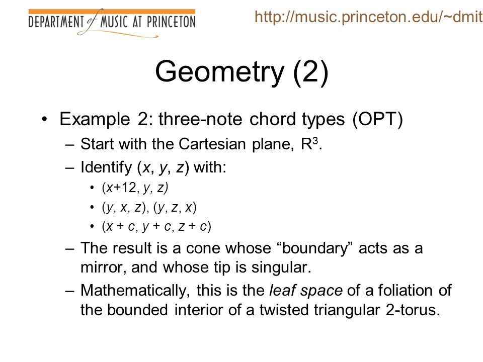 Geometry (2) Example 2: three-note chord types (OPT)