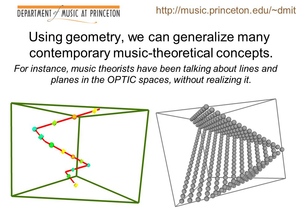 http://music.princeton.edu/~dmitri Using geometry, we can generalize many contemporary music-theoretical concepts.