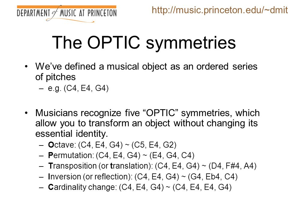 The OPTIC symmetries http://music.princeton.edu/~dmitri
