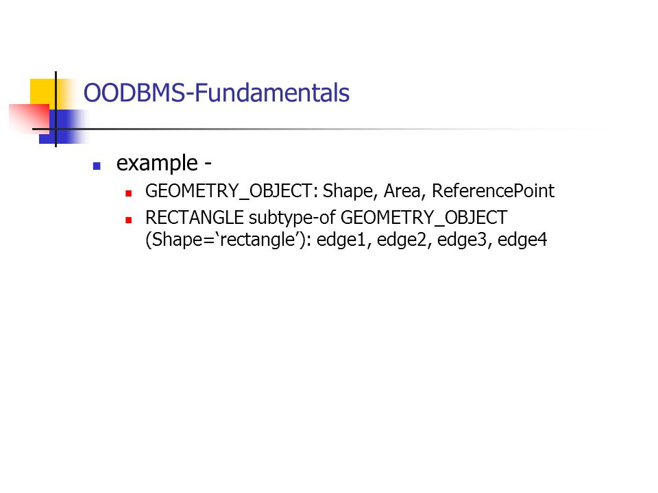 OODBMS-Fundamentals example -