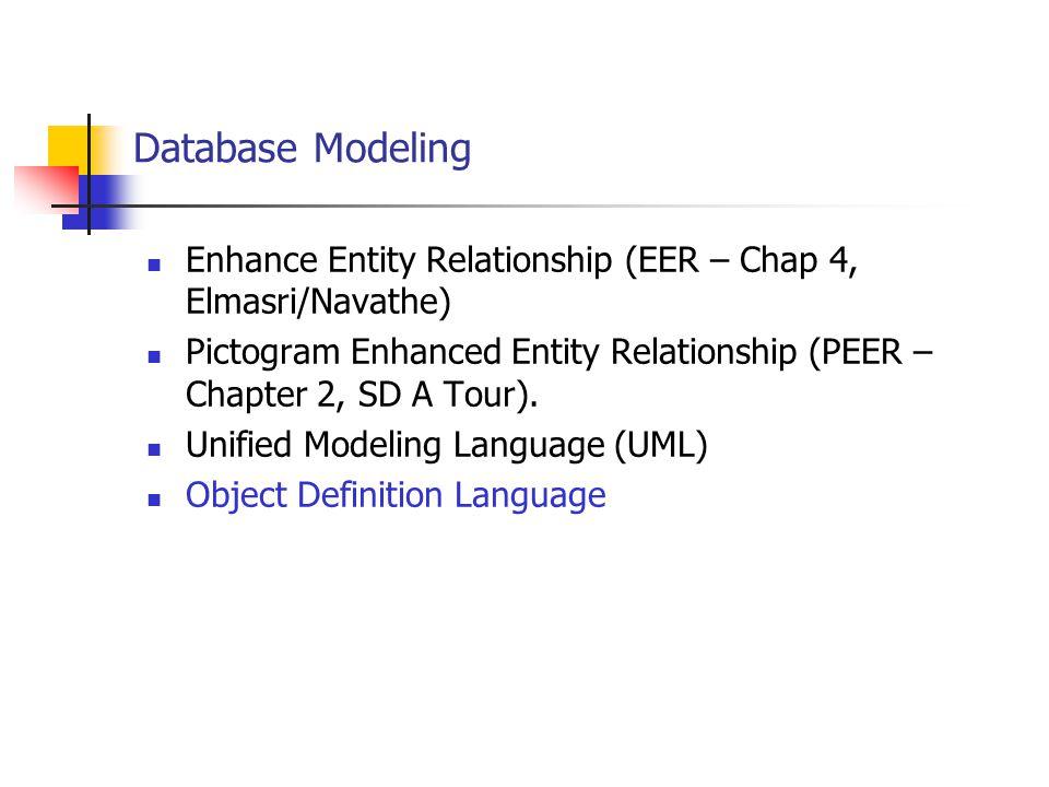 Database Modeling Enhance Entity Relationship (EER – Chap 4, Elmasri/Navathe) Pictogram Enhanced Entity Relationship (PEER – Chapter 2, SD A Tour).