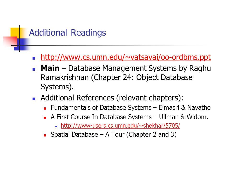 Additional Readings http://www.cs.umn.edu/~vatsavai/oo-ordbms.ppt
