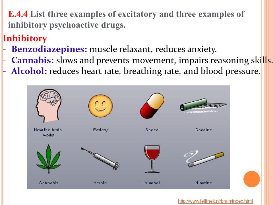 Benzodiazepines: muscle relaxant, reduces anxiety.