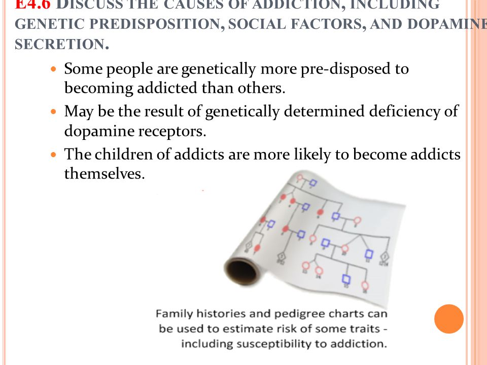 E4.6 Discuss the causes of addiction, including genetic predisposition, social factors, and dopamine secretion.