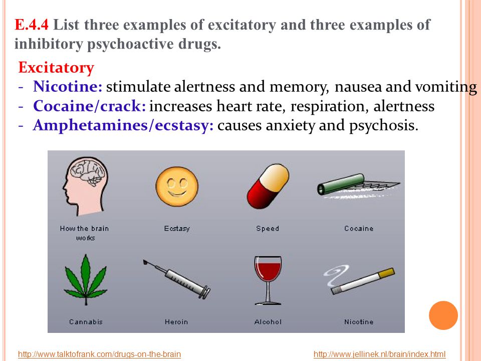 Nicotine: stimulate alertness and memory, nausea and vomiting