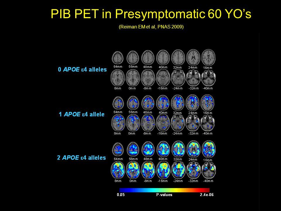 PIB PET in Presymptomatic 60 YO's