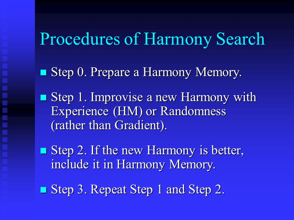 Procedures of Harmony Search