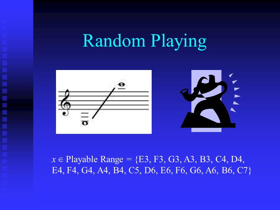 Random Playing x ∈ Playable Range = {E3, F3, G3, A3, B3, C4, D4, E4, F4, G4, A4, B4, C5, D6, E6, F6, G6, A6, B6, C7}