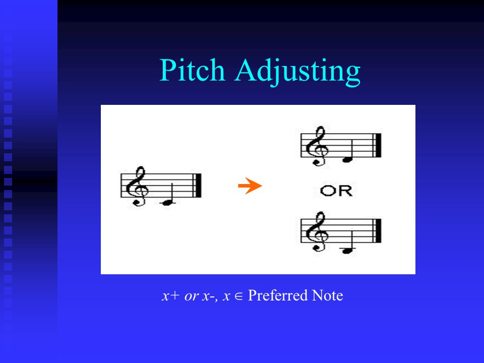 Pitch Adjusting x+ or x-, x ∈ Preferred Note