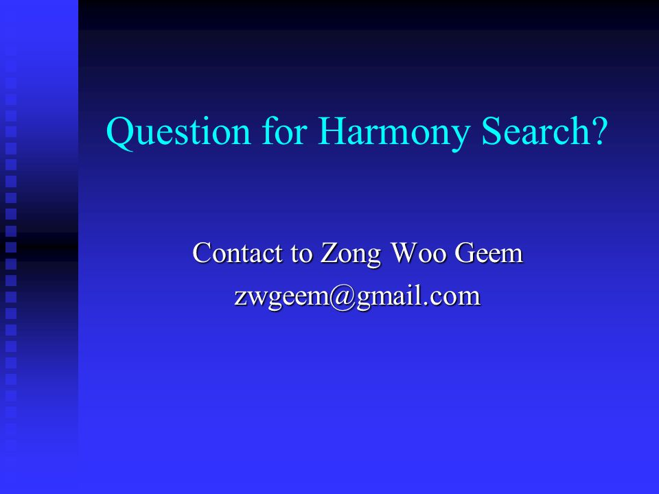 Question for Harmony Search