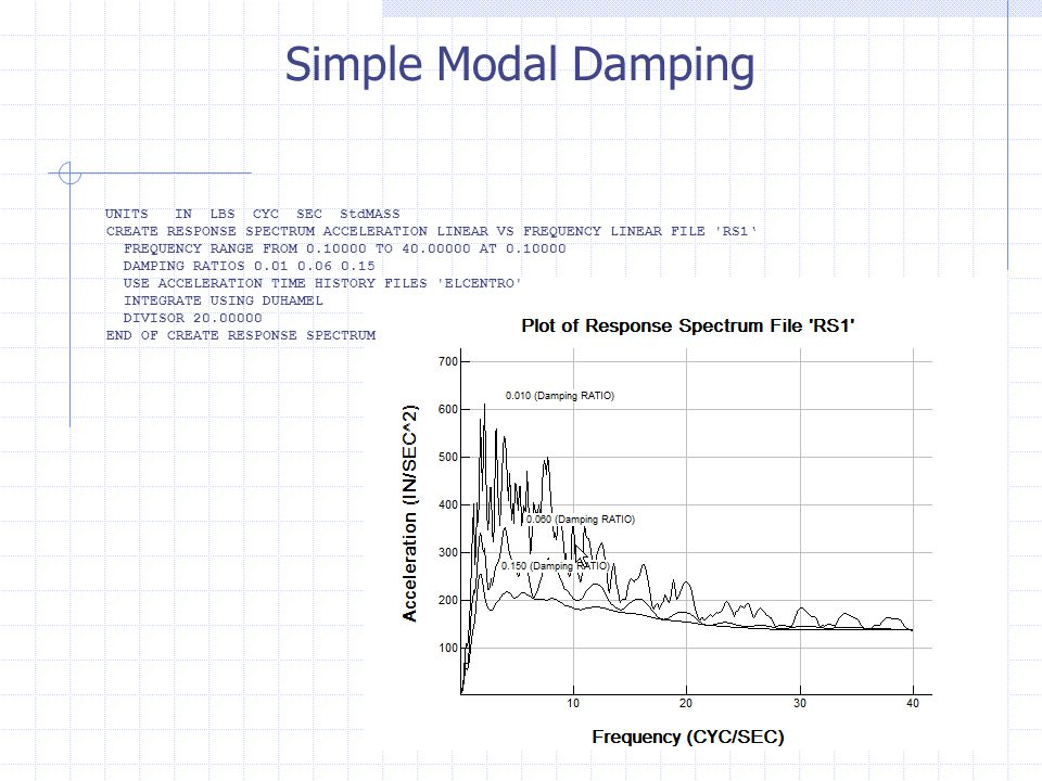 Simple Modal Damping UNITS IN LBS CYC SEC StdMASS. CREATE RESPONSE SPECTRUM ACCELERATION LINEAR VS FREQUENCY LINEAR FILE RS1'