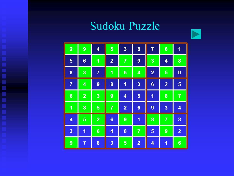 Sudoku Puzzle 6 1 4 2 5 3 8 7 9