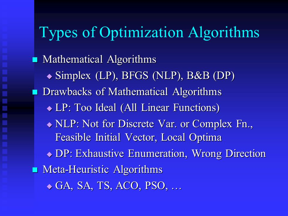 Types of Optimization Algorithms