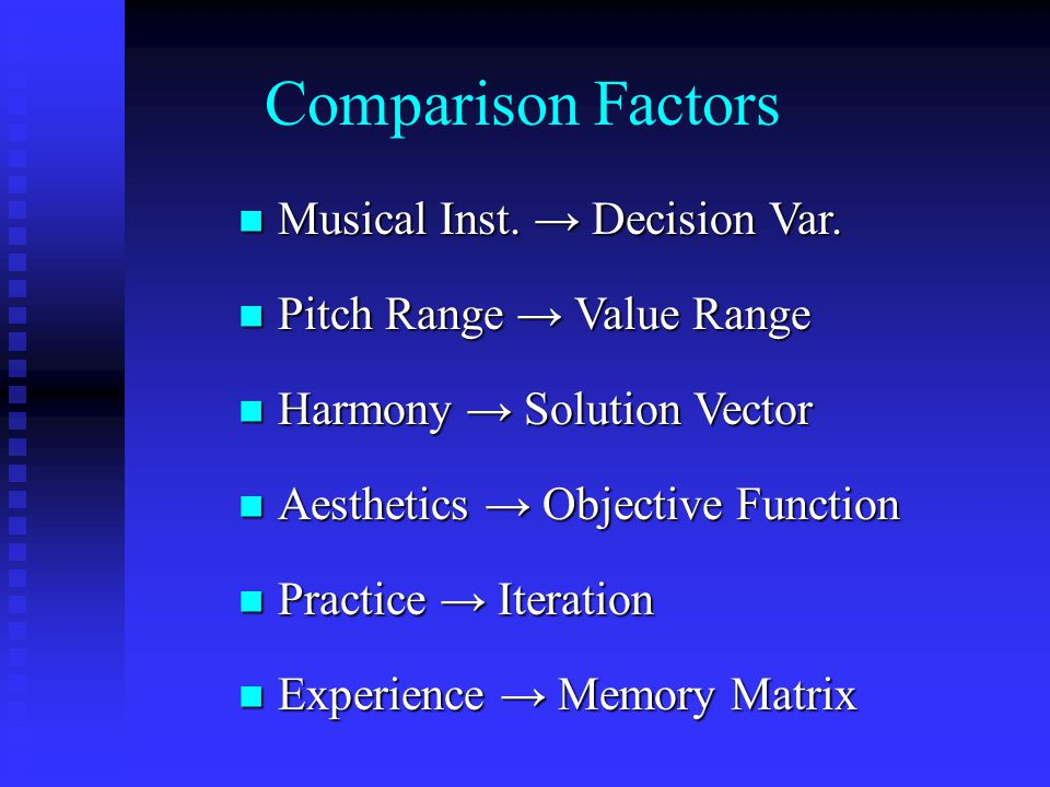 Comparison Factors Musical Inst. → Decision Var.