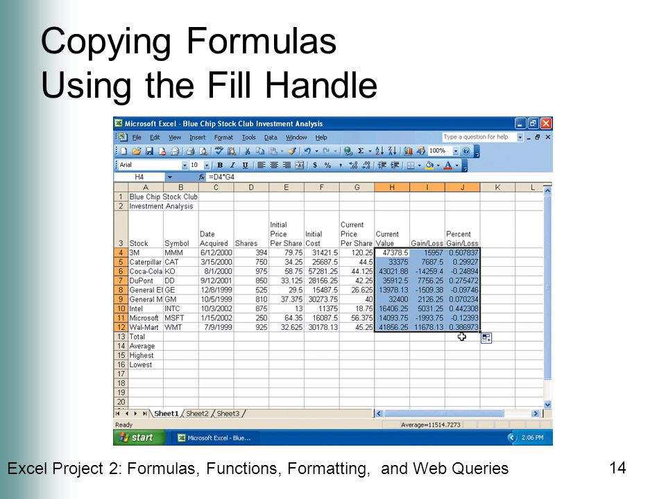 Copying Formulas Using the Fill Handle