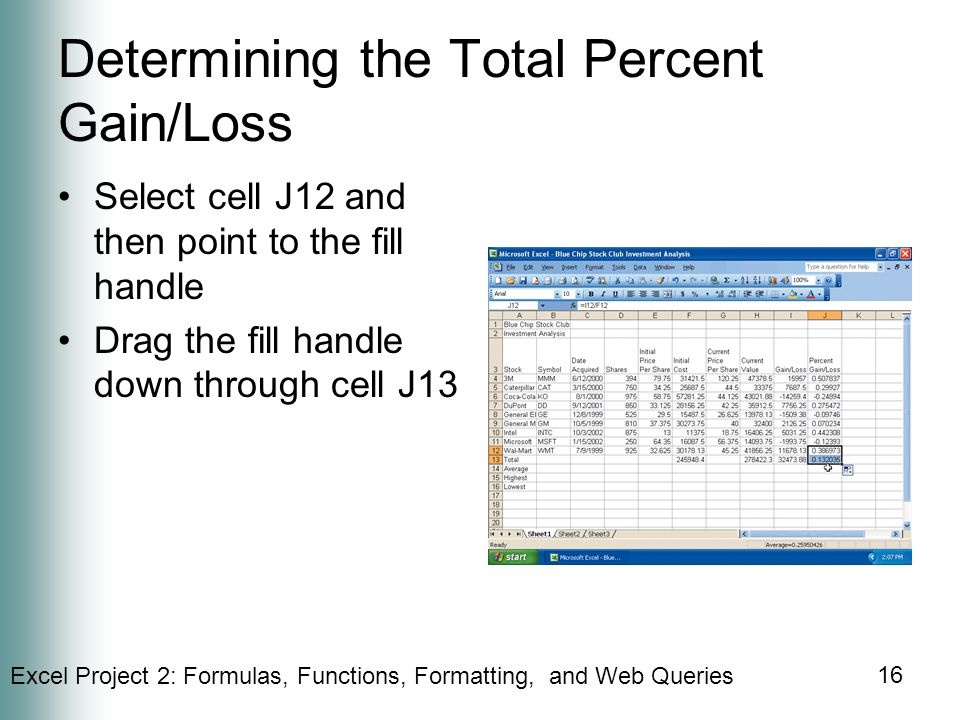 Determining the Total Percent Gain/Loss