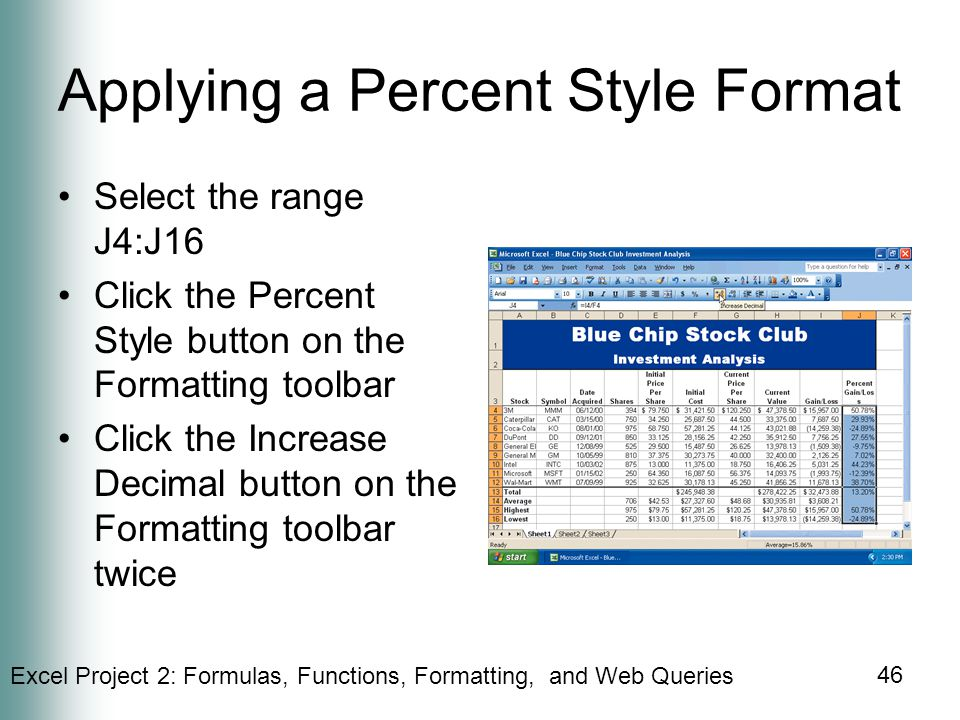 Applying a Percent Style Format