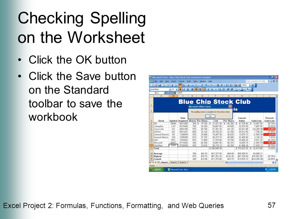 Checking Spelling on the Worksheet