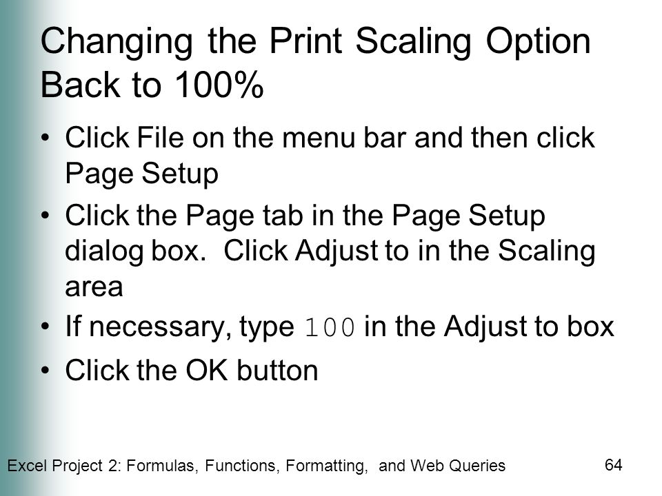 Changing the Print Scaling Option Back to 100%