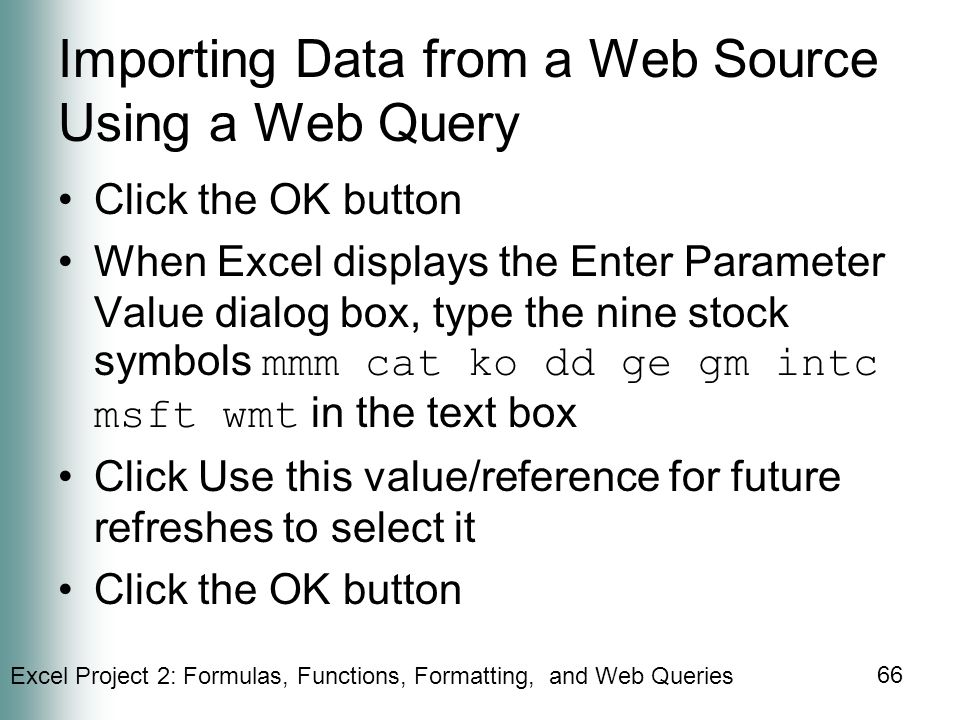 Importing Data from a Web Source Using a Web Query