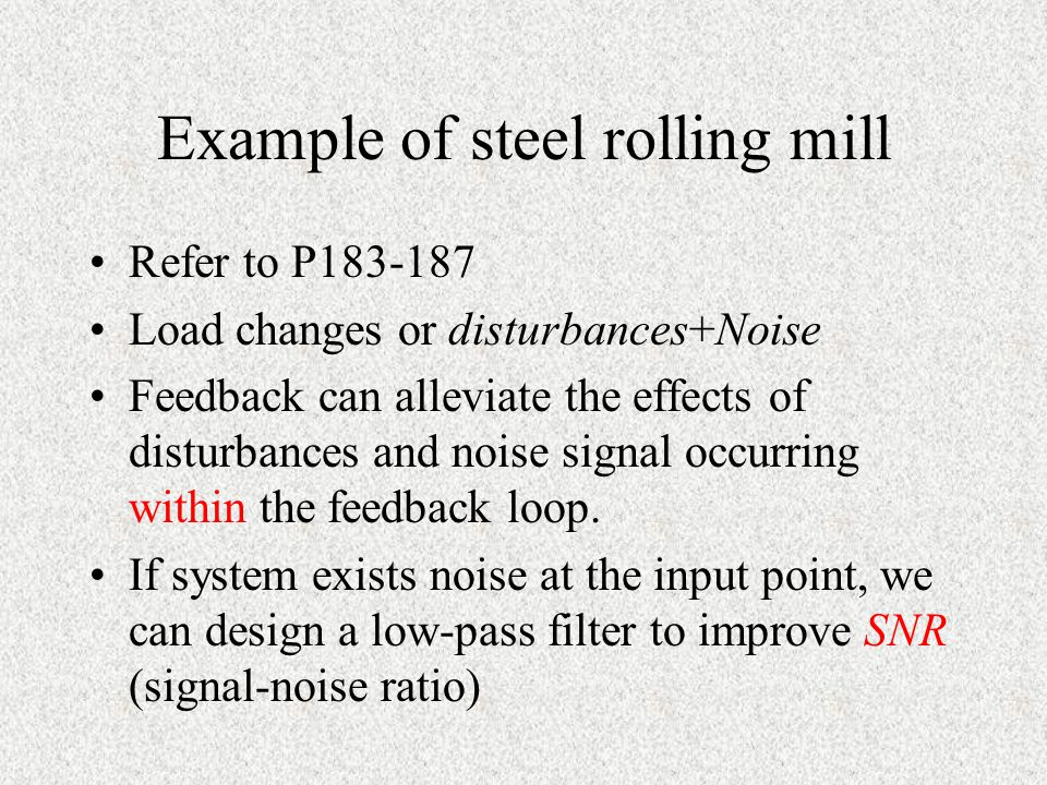 Example of steel rolling mill
