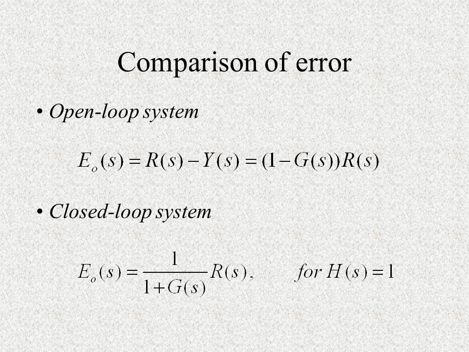 Comparison of error Open-loop system Closed-loop system