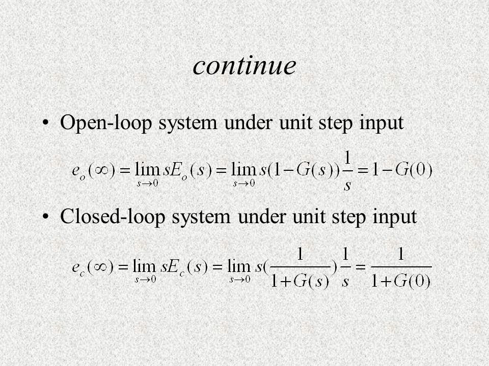 continue Open-loop system under unit step input
