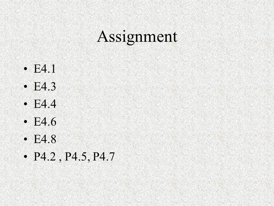 Assignment E4.1 E4.3 E4.4 E4.6 E4.8 P4.2 , P4.5, P4.7