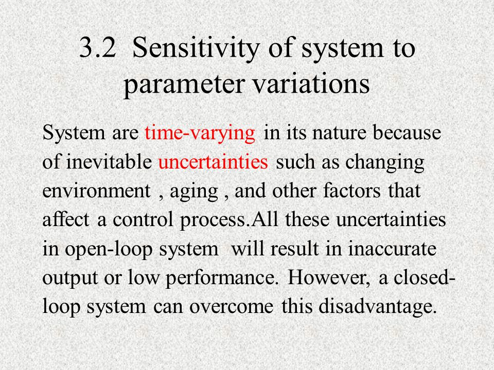 3.2 Sensitivity of system to parameter variations