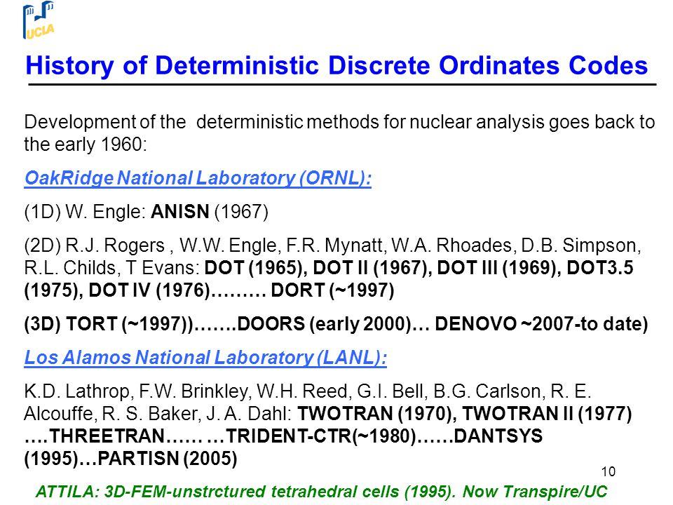 History of Deterministic Discrete Ordinates Codes