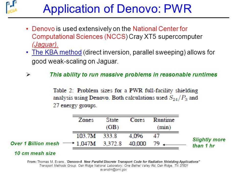 Application of Denovo: PWR