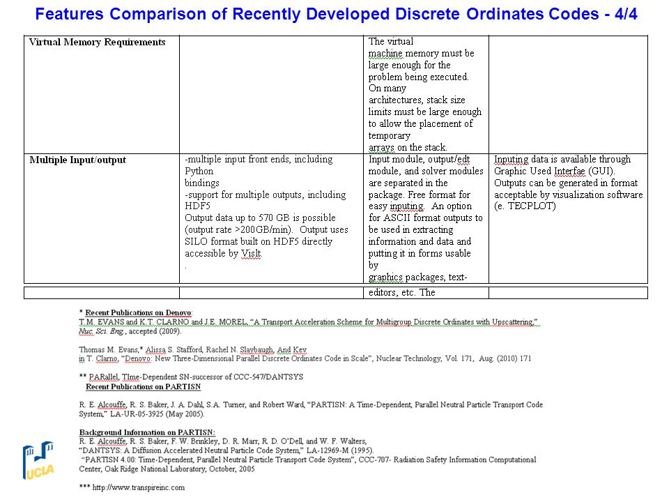 Features Comparison of Recently Developed Discrete Ordinates Codes - 4/4