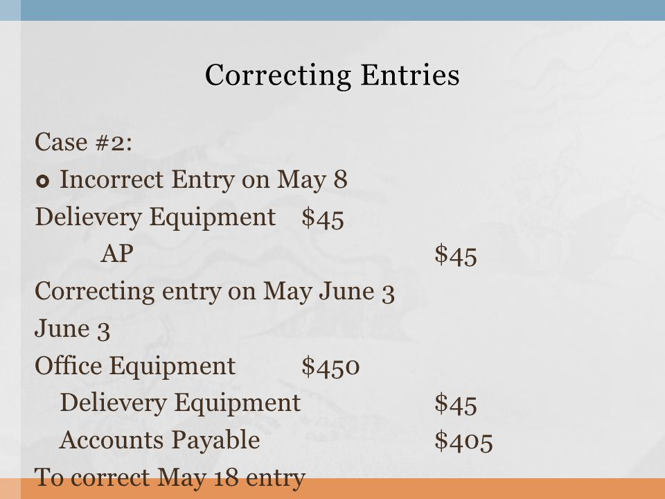 Correcting Entries Case #2: Incorrect Entry on May 8
